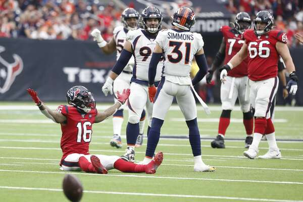 Houston Texans wide receiver Keke Coutee (16) looks for a foul to be called after he was tackled during the fourth quarter of an NFL football game at NRG Stadium, Sunday, Dec. 8, 2019, in Houston.