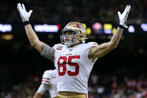NEW ORLEANS, LOUISIANA - DECEMBER 08: George Kittle #85 of the San Francisco 49ers celebrates a touchdown against the New Orleans Saints during the second half of a game at the Mercedes Benz Superdome on December 08, 2019 in New Orleans, Louisiana. (Photo by Jonathan Bachman/Getty Images)