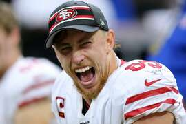 NEW ORLEANS, LOUISIANA - DECEMBER 08: George Kittle #85 of the San Francisco 49ers celebrate after scoring a touchdown against the New Orleans Saints during the second half of a game at the Mercedes Benz Superdome on December 08, 2019 in New Orleans, Louisiana. (Photo by Jonathan Bachman/Getty Images)