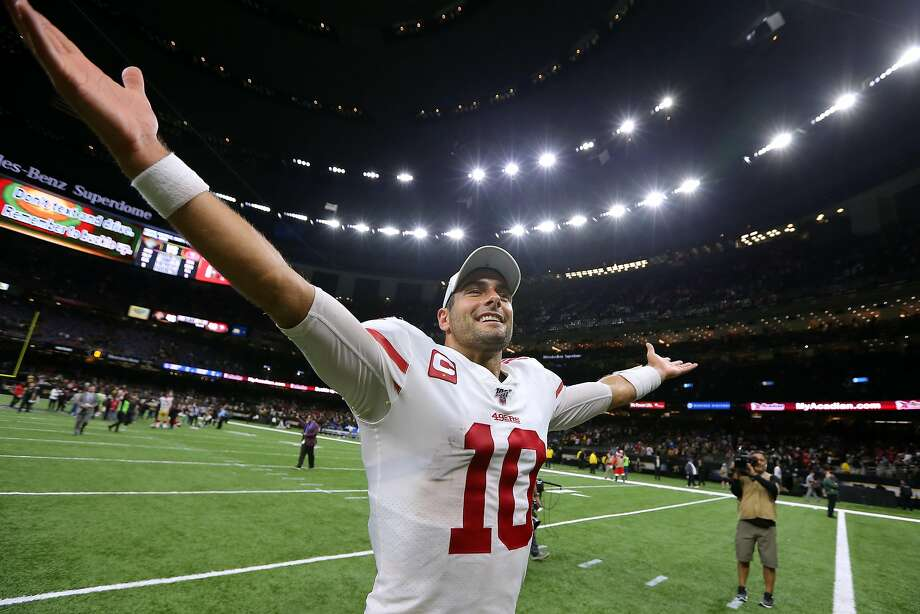 Jimmy Garoppolo #10 of the San Francisco 49ers celebrates a win over the New Orleans Saints after a game at the Mercedes Benz Superdome on December 08, 2019 in New Orleans, Louisiana. (Photo by Jonathan Bachman/Getty Images) Photo: Jonathan Bachman / Getty Images