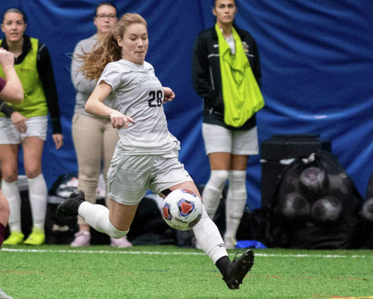 Saint Rose senior Nina Predanic kicks the ball against Bloomsburg University during the quarterfinals of the NCAA Division II championship at Afrima€™s Sports Complex in Colonie, New York on Sunday, Dec. 8, 2019. (Jim Franco/Special to the Times Union.)