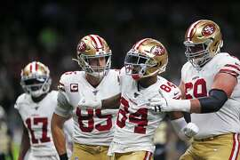 San Francisco 49ers wide receiver Kendrick Bourne (84) celebrates his touchdown reception in the first half an NFL football game against the New Orleans Saints in New Orleans, Sunday, Dec. 8, 2019. (AP Photo/Brett Duke)