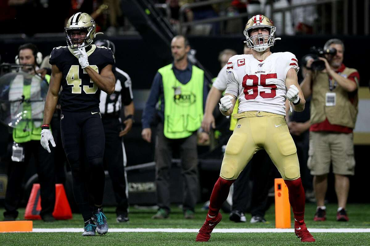 George Kittle #85 of the San Francisco 49ers celebrates a touchdown against the New Orleans Saints during the third quarter in the game at Mercedes Benz Superdome on December 08, 2019 in New Orleans, Louisiana. (Photo by Chris Graythen/Getty Images)