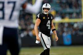 Oakland Raiders' Derek Carr recast after failing on 4th and goal in 4th quarter of  Tennessee Titans' 42-21 win in NFL game at Oakland Coliseum in Oakland, Calif., on Sunday, December 8, 2019.