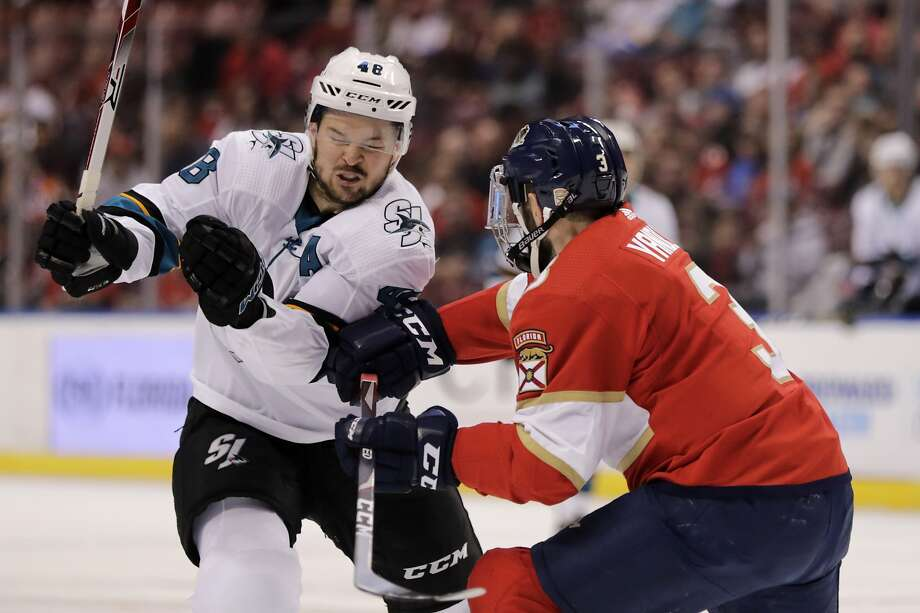 The Sharks' Tomas Hertl, left, moves past Florida Panthers' Keith Yandle, right, during the first period of an NHL hockey game, Sunday, Dec. 8, 2019, in Sunrise, Fla. The Panthers won 5-1. (AP Photo/Luis M. Alvarez) Photo: Luis M. Alvarez / Associated Press
