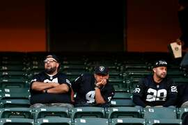 Oakland Raiders' fans after 42-21 loss to  Tennessee Titans in NFL game at Oakland Coliseum in Oakland, Calif., on Sunday, December 8, 2019.