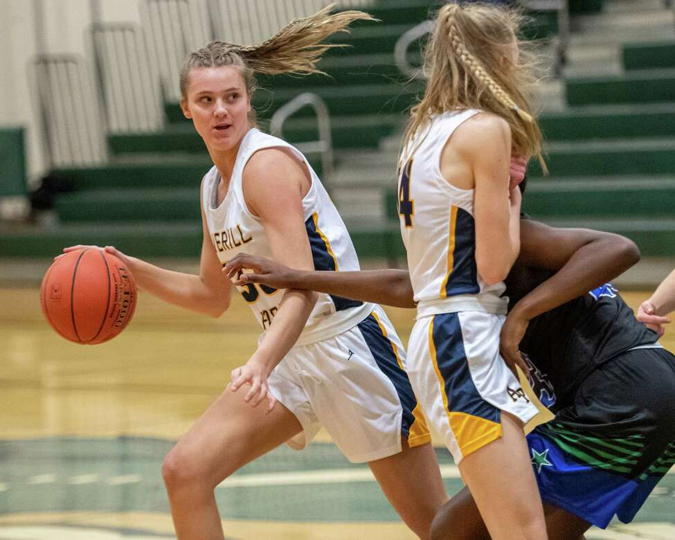 Averill Park sophomore Amelia Wood moves to her right behind a pick set by junior Julia Gelder during a game against Cicero-North Syracuse at Shenendehowa High School on Sunday, Dec. 8, 2019 (Jim Franco/Special to the times Union.)