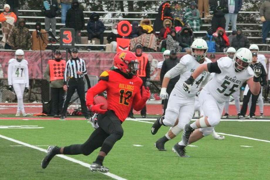 Ferris State's CJ Jefferson (12) finds running room after catching a pass against Northwest Missouri State on Saturday. (Pioneer photo/John Raffel)