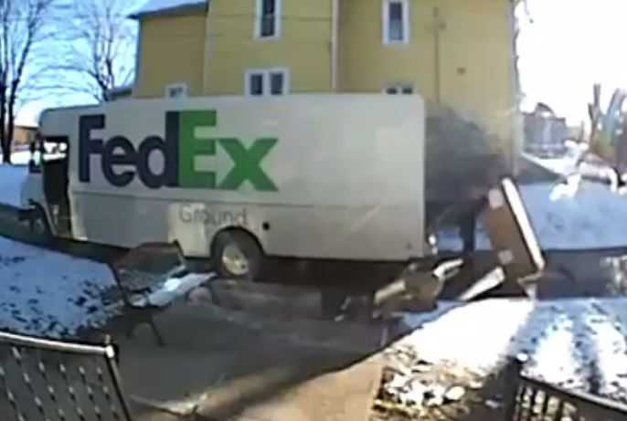Doorbell footage captures delivery driver's meltdown when picking up 144 pound package