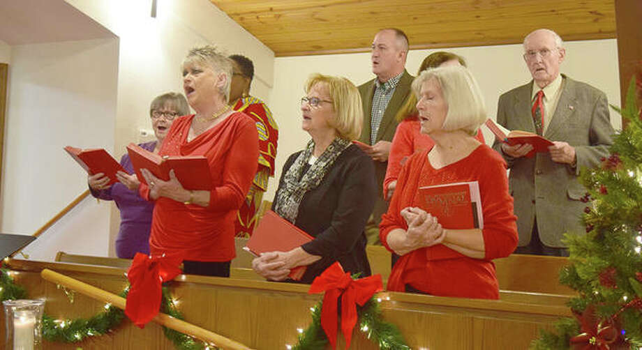 The choir at Murrayville United Methodist Church sing during Sunday service. The church will spend all of next year celebrating their 200th anniversary. Photo: Marco Cartolano | Journal-Courier