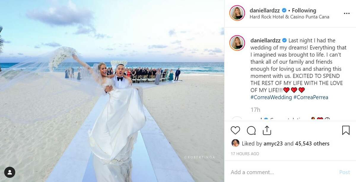 Astros shortstop Carlos Correa and pageant queen Daniella Rodriguez tied the knot on Dec. 7, 2019, in the Dominican Republic.