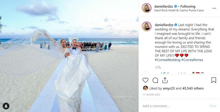 Astros shortstop Carlos Correa and pageant queen Daniella Rodriguez tied the knot on Dec. 7, 2019, in the Dominican Republic. Photo: Screenshot From Instagram