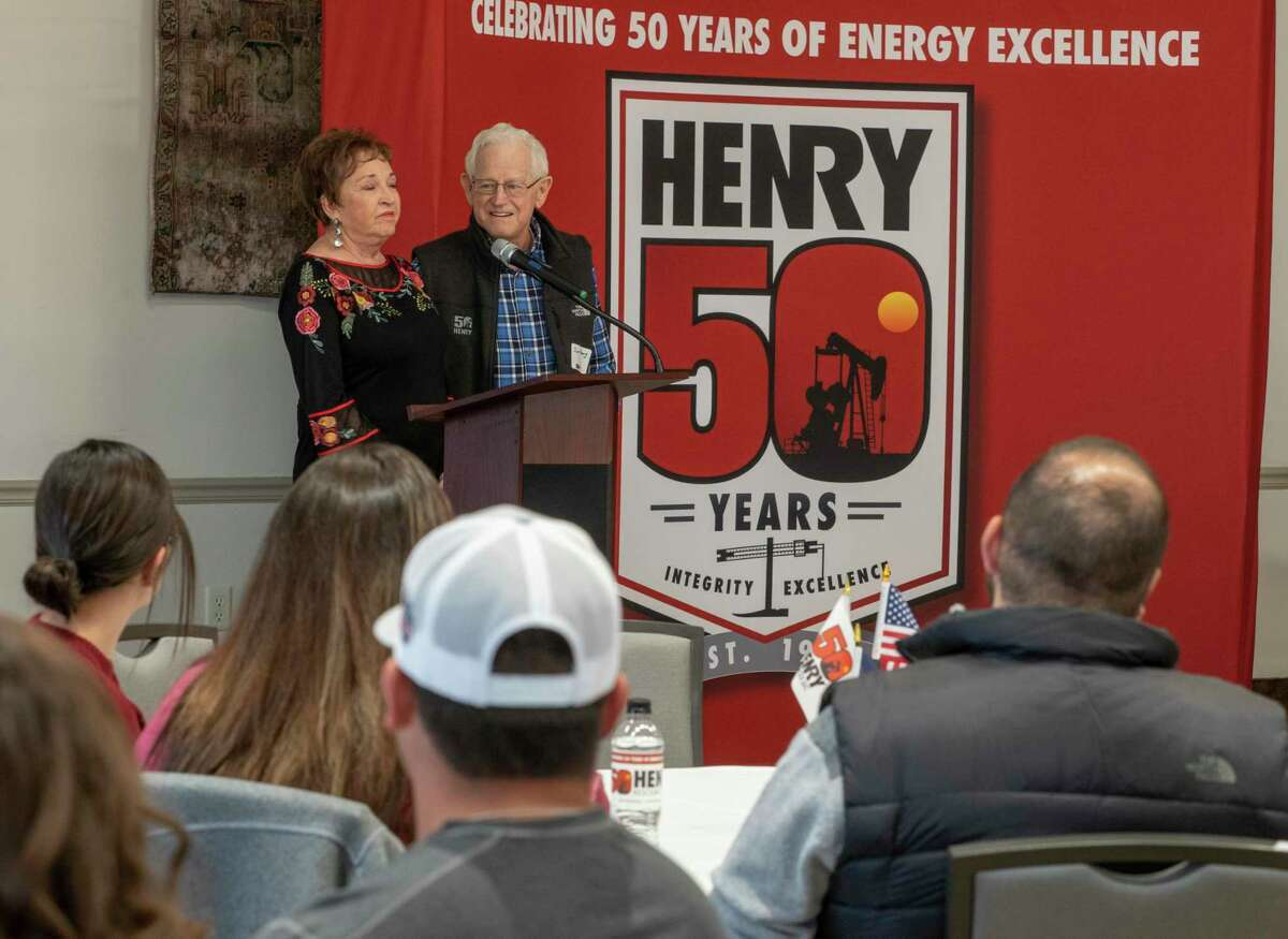 Paula and Jim Henry thank employees 10/28/19 during the week-long festivities to celebrate Henry Resources 50 years. Tim Fischer/Reporter-Telegram