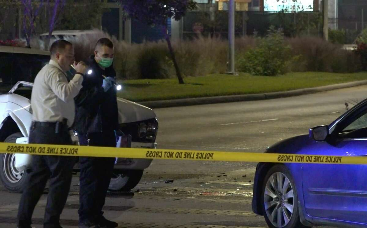 Houston police invsestigate the scene of a road rage crash and gunfire in north Houston on Sunday. Dec. 9, 2019.