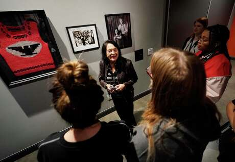"Dolores Huerta, the 89-year-old legendary activist and co-founder of the United Farm Workers Union, leads a tour and talks about the exhibit ""Dolores Huerta: Revolution in the Fields"" at The Holocaust Museum of Houston Thursday, Dec. 5, 2019. The exhibit will be on display until Feb. 16 in Houston."