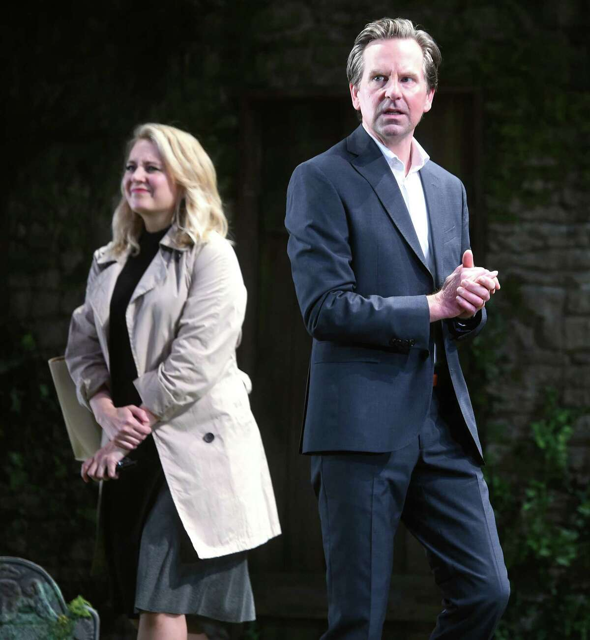 Stephen Barker Turner as Tim and Jennifer Mudge as Donna act in a dress rehearsal of