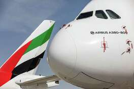 An Airbus A380-800 aircraft operated by Emirates Airways during the first day of the 16th Dubai Air Show in Dubai, United Arab Emirates, on Nov. 17, 2019.