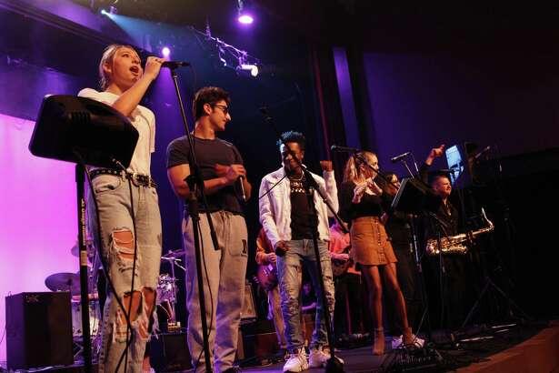 Allie Vogel (New Canaan), Jerry Rutigliano (New Canaan), Zaire Profit (Bridgeport), Claire Watson (New Canaan), St. Luke's band teachers Maggie Lauer and Peter Valera.