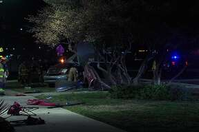 One woman was killed after her truck hit a sign near the 700 block of Bandera Road Sunday.