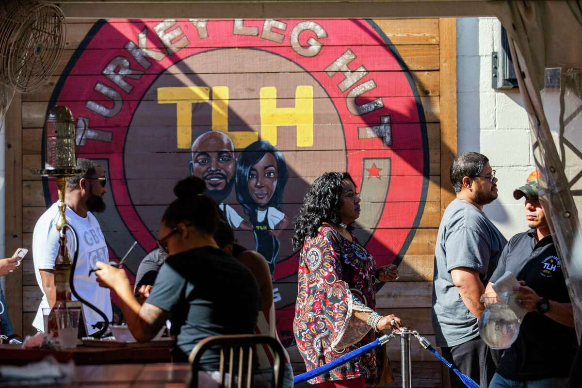 Customers waiting in line for a table at Turkey Leg Hut, a restaurant located in the Third Ward on Friday, Dec. 6, 2019, in Houston.