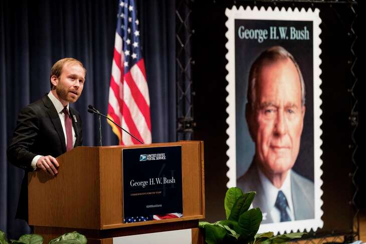 Pierce Bush, grandson of former President George H.W. Bush, speaks during the unveiling ceremony of the Forever Stamp honoring Bush on Wednesday, June 12, 2019, in College Station. Bush announced Monday he is running for the 22nd Congressional District.