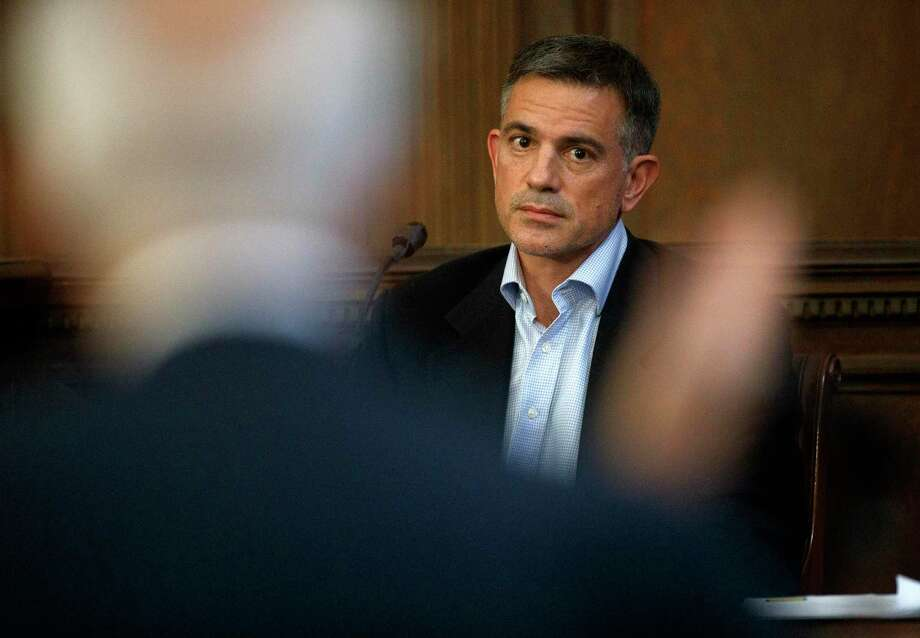 Fotis Dulos is questioned by attorney Richard Weinstein, representing the estate of Hilliard Farber, during testimony in a civil case at Hartford Superior Court, Wednesday, Dec. 4, 2019, in Hartford, Conn. Photo: Mark Mirko / Associated Press / ?2019 The Hartford Courant