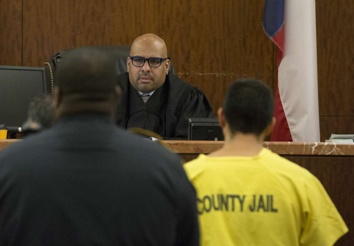 Arturo Solis, 25, appears to Judge Danilo Lacayo at the 182nd Judicial District Court at Harris County Criminal Justice Center on Monday, Dec. 9, 2019, in Houston. Solis is accused of shooting and killing Houston Police Department Sgt. Christopher Brewster on Saturday.