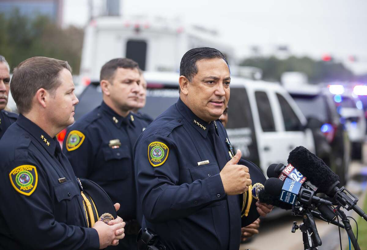 Houston Police Department Chief Art Acevedo speaks to the media before officers from the Houston Police Department escort the body of Sgt. Christopher Brewster out of the Harris County Institute of Forensic Sciences building to a funeral home in preparation for Wednesday's planned visitation and a funeral planned for Thursday, in Houston, Monday, Dec. 9, 2019.