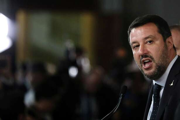 Matteo Salvini, leader of the League Party, speaks during a news conference at the Quirinale Palace in Rome on Aug. 22, 2019.