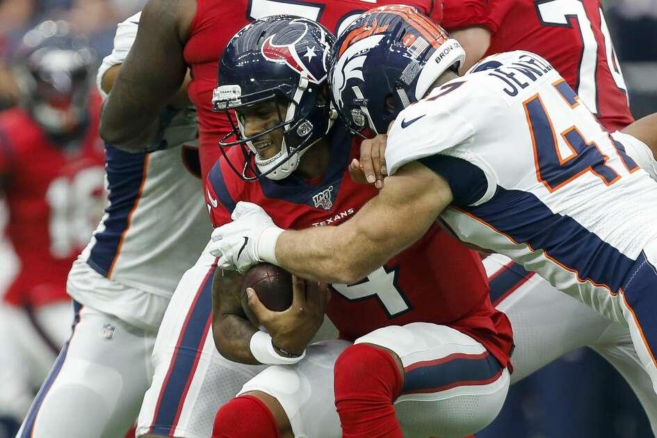 Denver Broncos inside linebacker Josey Jewell (47) sacks Houston Texans quarterback Deshaun Watson (4) during the fourth quarter of an NFL game at NRG Stadium Sunday, Dec. 8, 2019, in Houston. The Broncos won 38-24.