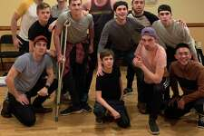 """Cast members rehearse for Disney's """"Newsies,"""" which will be onstage at White Plains Performing Arts Center in New York, Dec. 20 through Jan. 12."""