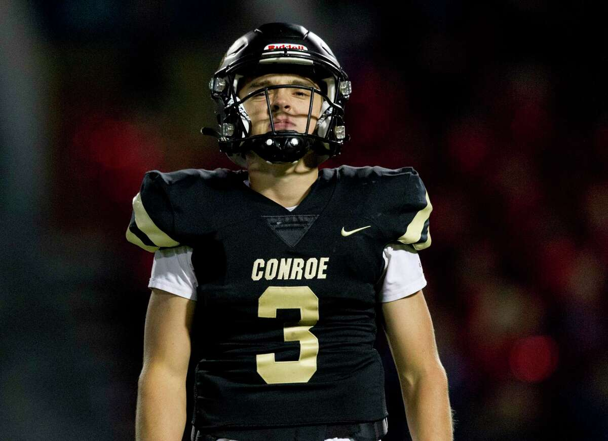 Conroe quarterback Christian Pack (3) reacts after an incomplete pass during the first quarter of a District 15-6A high school football game at Moorehead Stadium, Friday, Nov. 8, 2019, in Conroe.