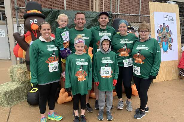 Turkey Trot: Monica Paul, back from left,  Brynlee Paul, Jeff Paul, Denton O'Neil, Julia O'Neil and Carolyn Wood; and Bella Paul, front left, and Carson Paul