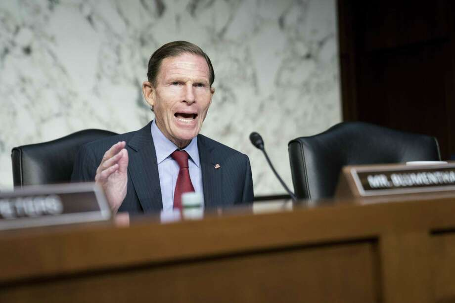 "WASHINGTON, DC - NOVEMBER 20: Senator Richard Blumenthal (D-CT) questions Acting Transportation Undersecretary for Policy Joel Szabat, James Owens, acting administrator of the National Highway Traffic Safety Administration, and Robert Sumwalt, chairman of the National Transportation Safety Board, as they testify before the Senate Commerce, Science and Transportation Committee during a hearing on ""Highly Automated Vehicles: Federal Perspectives on the Deployment of Safety Technology,"" on November 20, 2019 in Washington, DC. (Photo by Sarah Silbiger/Getty Images) Photo: Sarah Silbiger / Getty Images / 2019 Getty Images"