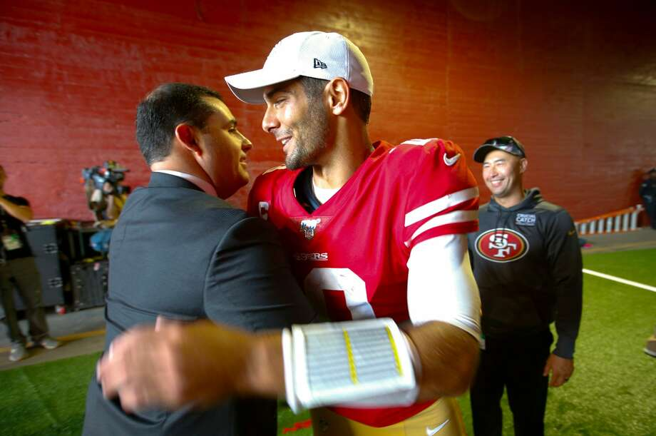 CEO Jed York and Jimmy Garoppolo #10 of the San Francisco 49ers celebrate in the tunnel following the game against the Los Angeles Rams at the Los Angeles Memorial Coliseum on October 13, 2019 in Los Angeles, California. The 49ers defeated the Rams 20-7. (Photo by Michael Zagaris/San Francisco 49ers/Getty Images) Photo: Michael Zagaris/Getty Images