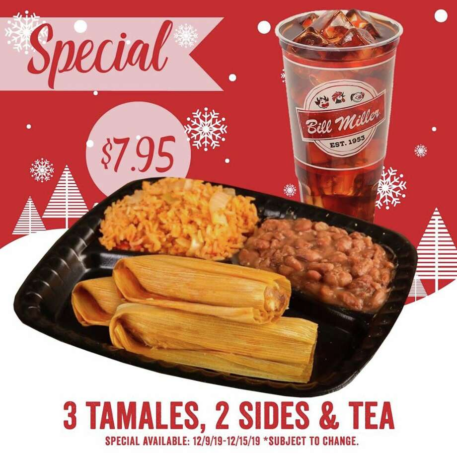 Bill Miller Bar-B-Q is promoting a $7 .95 special from Dec. 9-15 on a plate of tamales. The offer includes three pork tamales, two sides and a tea. Photo: Courtesy, Bill Miller Bar-B-Q