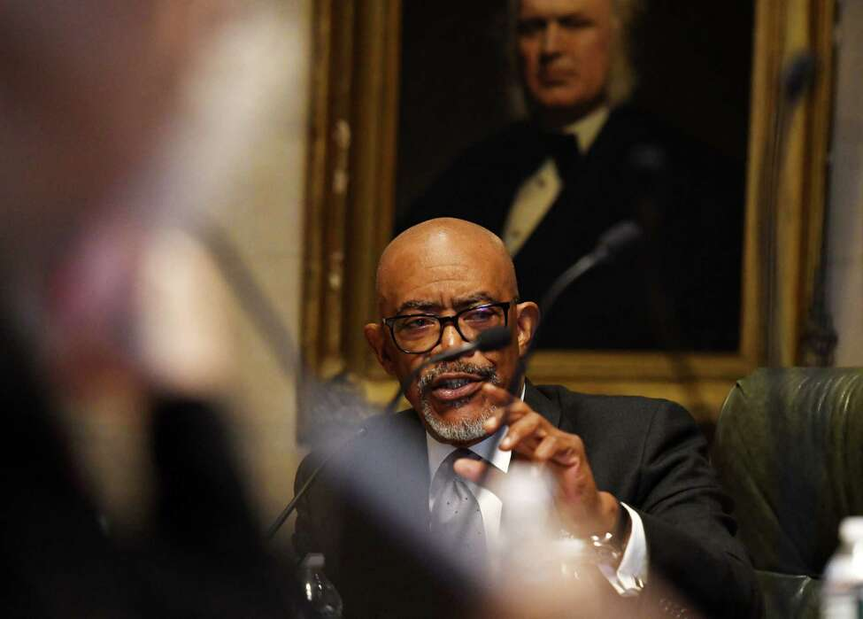 Regent Lester W. Young, Jr. speaks during a meeting of the New York State Board of Regents on Monday, Dec. 9, 2019, at the state Education Building in Albany, N.Y. (Will Waldron/Times Union)