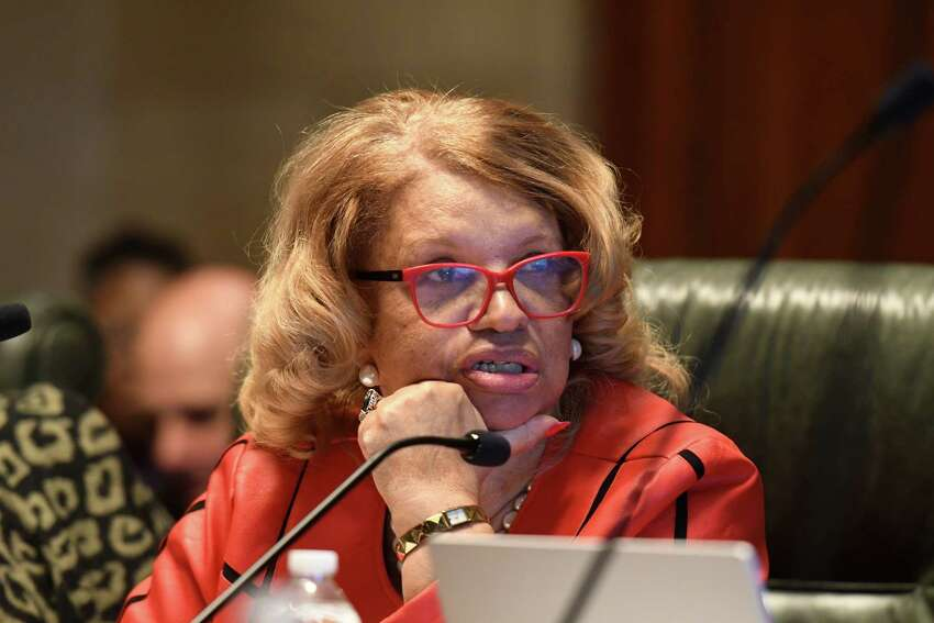 Regent Catherine Fisher Collins speaks during a meeting of the New York State Board of Regents on Monday, Dec. 9, 2019, at the state Education Building in Albany, N.Y. (Will Waldron/Times Union)