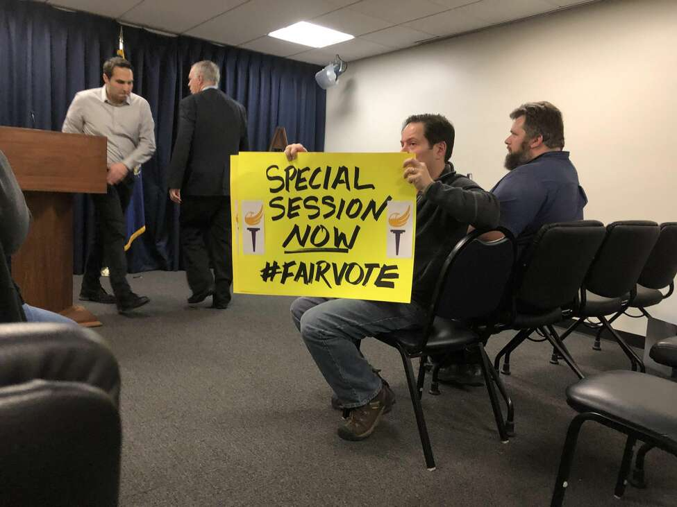 The Green and Libertarian parties hold a press conference in Albany on Monday, December 9.
