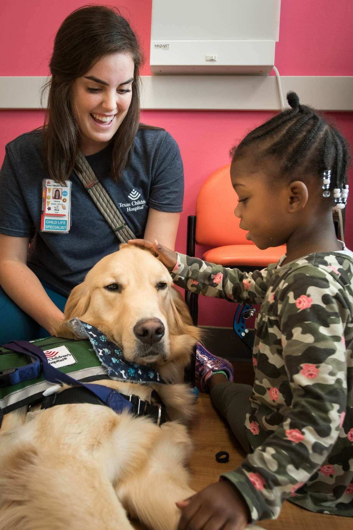 On Monday, Texas Children's Hospital in the Texas Medical Center announced the arrival of a new animal-assisted therapy dog named Pluto, a two-year-old Golden Retriever.