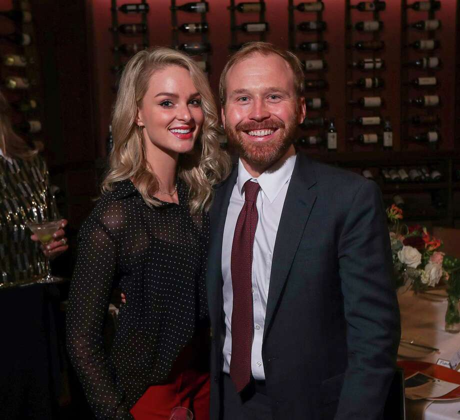Sarahbeth and Pierce Bush pose for a photograph during a dinner party at Tony's on Tuesday, Oct. 8, 2019, in Houston. Photo: Jon Shapley, Houston Chronicle / Staff Photographer / ? 2019 Houston Chronicle