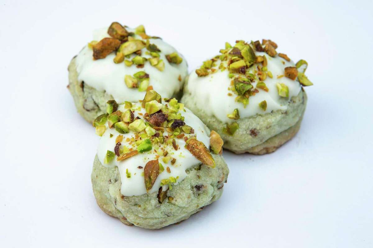 Pistachio Rosewater Cookies from Mary Zwald offer Middle Eastern flavors in one beautiful bite.