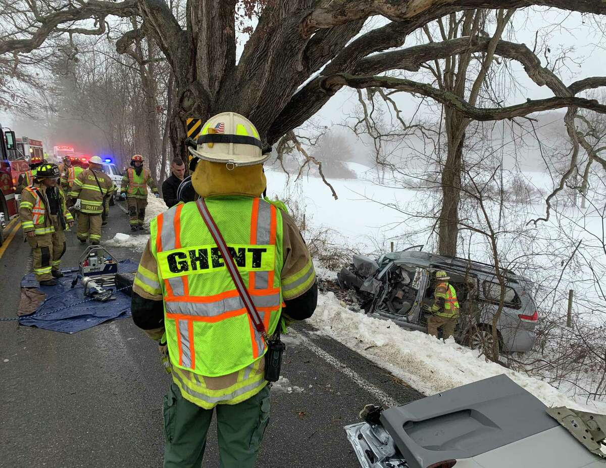 First responders attend to a fatal crash on Tuesday morning, Dec. 9, 2019, on County Route 21B, just north of Shufelt Road, in the Town of Ghent, N.Y. Rodney W. Abele, 76, of East Greenbush, went off the east shoulder of the roadway striking a tree head on, according to Columbia County Sheriff's Office. The operator, and sole occupant, had to be extricated from the vehicle by Ghent and Chatham Fire Departments. Mr. Abele was pronounced dead at the scene. (Columbia County Sheriff's Office)