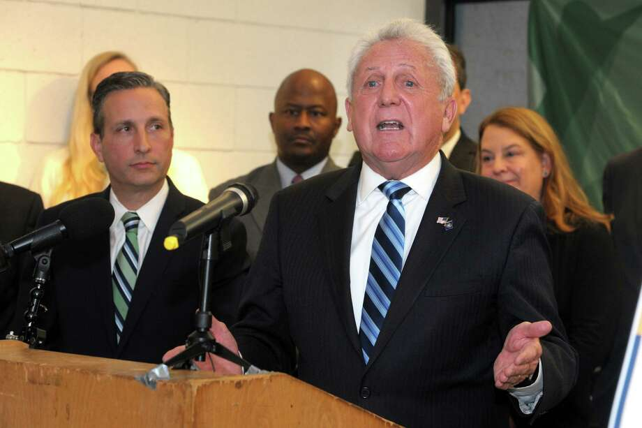Mayor Harry Rilling speaks at a news conference to announce plans to build a new Norwalk High School, at Norwalk High School Dec. 9. Photo: Ned Gerard / Hearst Connecticut Media File Photo / Connecticut Post