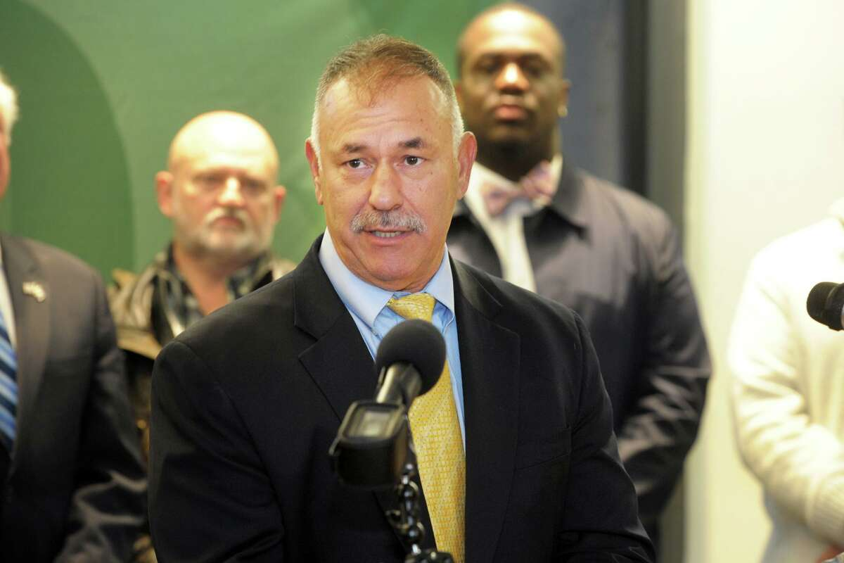 Kosta Diamantis, Director of Connecticut's Office of School Construction Grants and Review, speaks at a news conference to announce plans to build a new Norwalk High School, at Norwalk High School, in Norwalk, Conn. Dec. 9, 2019.