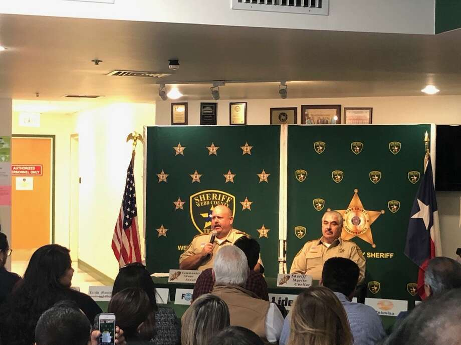 Newly-appointed Webb County Jail Commander Shane Sowell addresses fellow officers during a press conference announcing his position with Sheriff Martin Cuellar. Photo: Courtesy