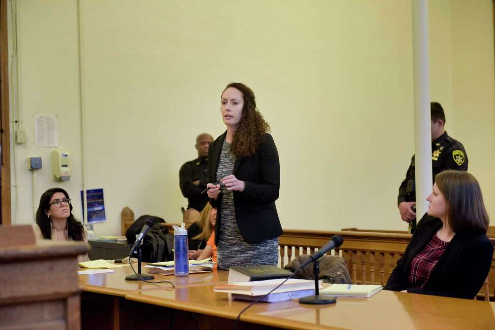 Albany County Assistant Public Defender, Angela Kelley, speaks at a preliminary hearing for her client, Anthony Ojeda, in Cohoes City Court on Monday, Dec. 9, 2019, in Cohoes, N.Y. (Paul Buckowski/Times Union)