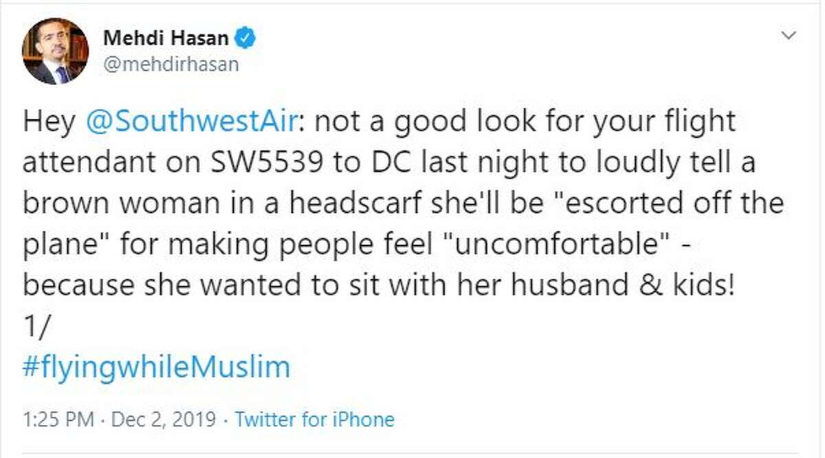 Mehdi Hasan, whose family is Muslim, claimed that his wife was humiliated and in tears when the flight attendant who reportedly said her headscarf made other people feel uncomfortable after she asked to be seated next to her family.