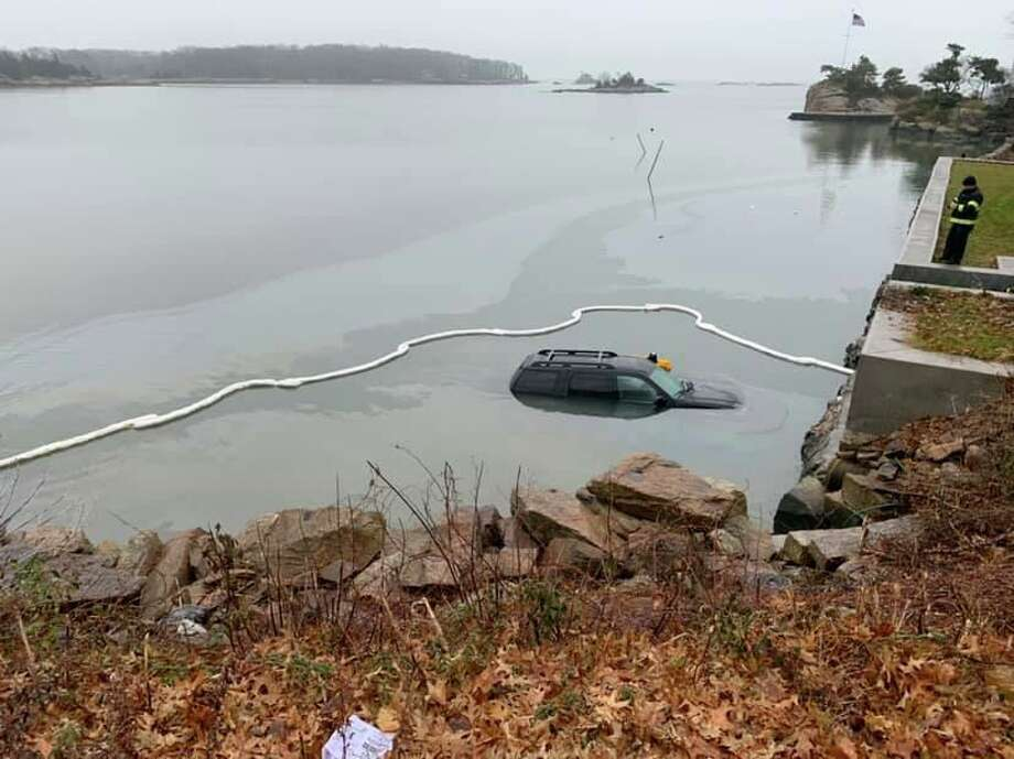 The Branford Fire Department responded Monday morning, Dec. 9, 2019, after a vehicle somehow ended up in the water off Short Beach, in the area of Shore Drive at Little Bay Lane. No injuries were reported, Fire Chief Tom Mahoney said. Photo: Branford Fire Department