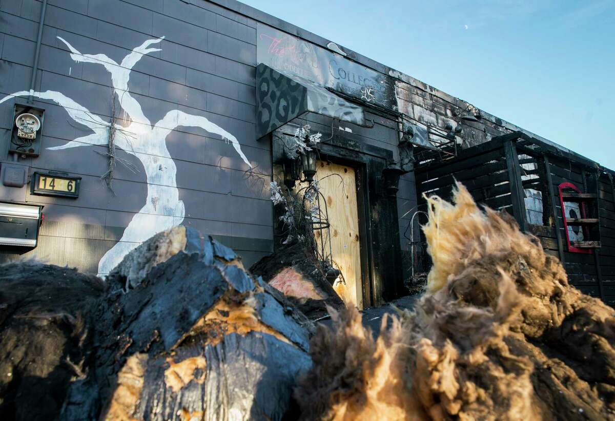 The Wilde Collection in Houston's Heights neighborhood shows the signs of the fire that destroyed its interior on Sunday, Nov. 3, 2019.